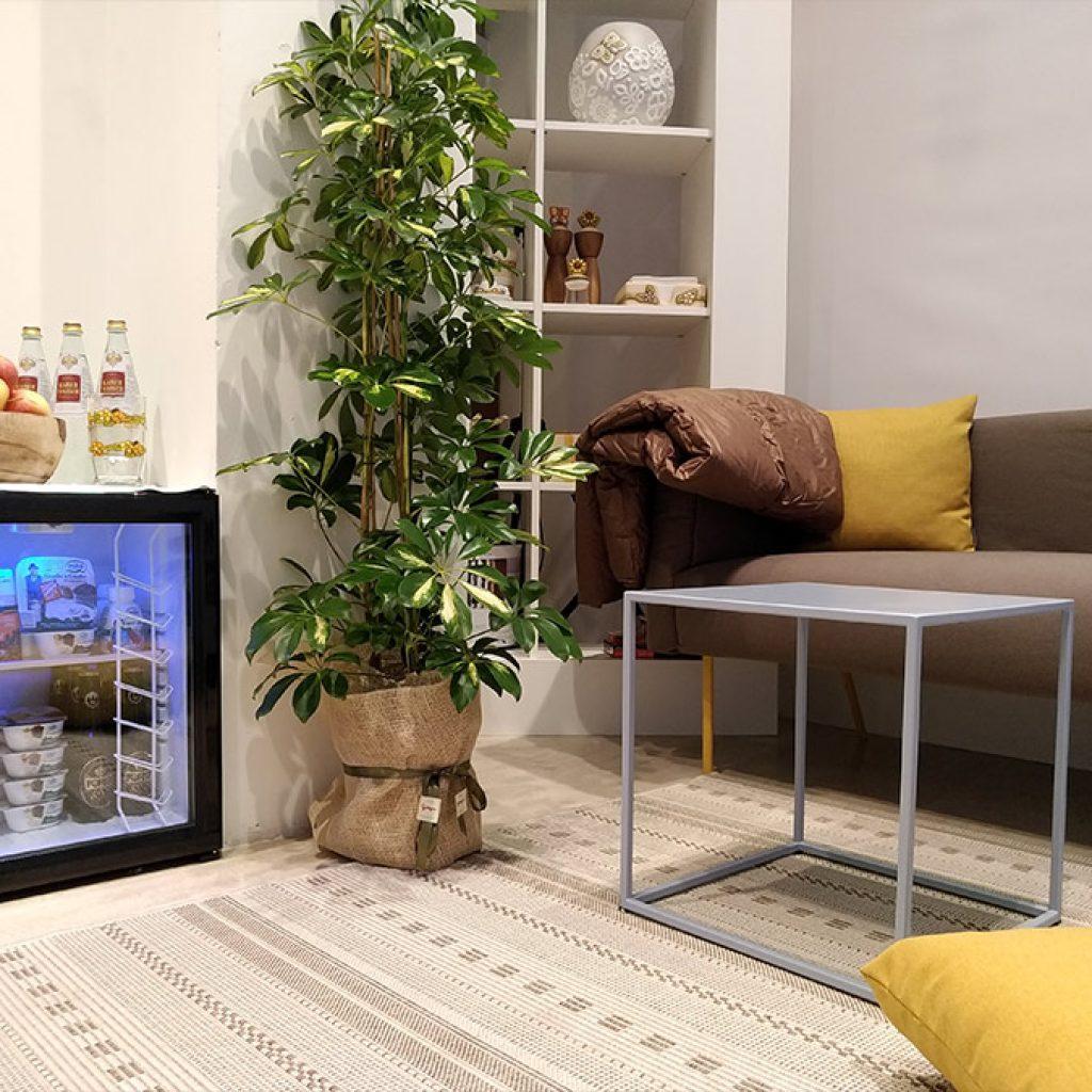 la zona living con divano Novamobili